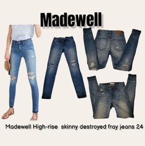 Madewell High-rise  skinny destroyed fray jeans 24